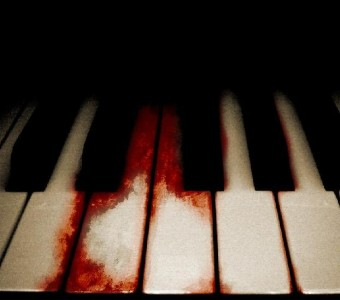 blood on piano