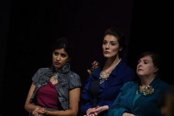 Rimsha Azfal, Gabrielle Stephenson and Karen Williams in the Burning Coal Theatre Company production of David Edgar's Written on the Heart (US Premiere), directed by Jerome Davis (Photo by the Right Image Photography, Inc.)